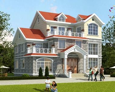2020年新款AT1819三层楼带电梯的别墅设计图简欧式别墅图纸16mX11m