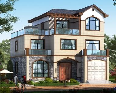 2019新款AT1820现代新中式三层带车库别墅设计图纸12.5mX12.7m