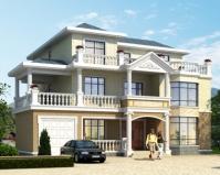 2019年新款别墅AT1829三层楼中楼客厅私家别墅设计施工图纸16mX15m
