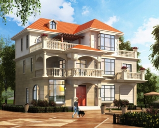 2019年新款AT1840三层楼房+屋顶花园别墅设计施工图纸15mX11.4m