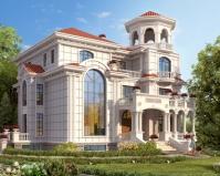 AT1851高端大气干挂石材三层带地下室豪宅别墅设计图纸19.8mX16.3m