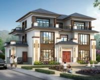 【带装修图】AT1857清新典雅新中式三层私家别墅设计施工图纸17.7mX10.8m