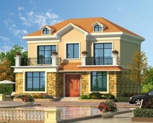 新品AT1855简约清新二层带阳台别墅设计全套施工图纸10.8mX9.8m