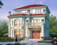 AT1865新农村简欧三层大客厅复式别墅设计施工图纸12mX14.8m