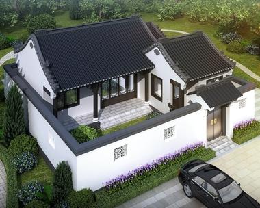 一层带庭院新中式古典风格合院小别墅设计施工图纸13mX14m