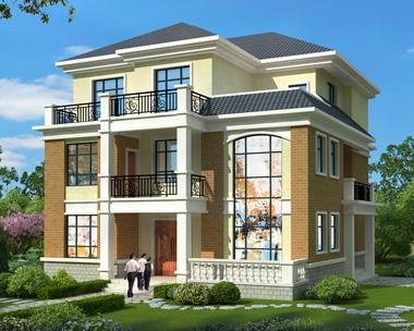 AT1892新农村简约时尚三层复式楼独栋别墅全套施工图纸12.3mX14.8m