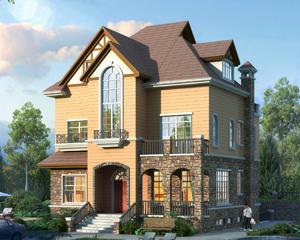 AT1909二层半带错层/地下室及下沉庭院美式别墅设计图纸11mX14.9m