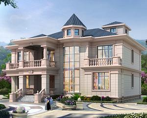 AT1926简欧大气二层带八角通窗复式楼别墅设计施工图纸16.5mX16.5m
