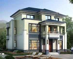 AT1931外型层次分明简单大方三层漂亮别墅设计施工图纸12mX11m