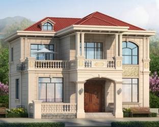 五室三厅AT1917新农村简欧二层带外廊精致别墅设计图纸12.5mX13.5m