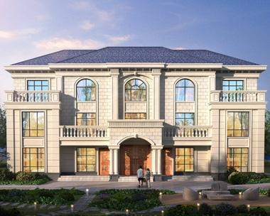 豪华简欧AT1937三层双拼带堂屋别墅设计施工图纸24mX14.1m