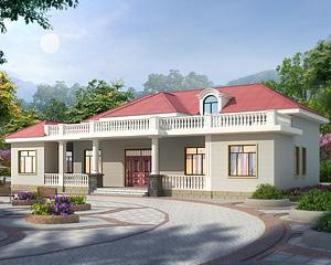 新款推荐AT1939一层半简约别墅设计施工图纸23.2mX11.3m