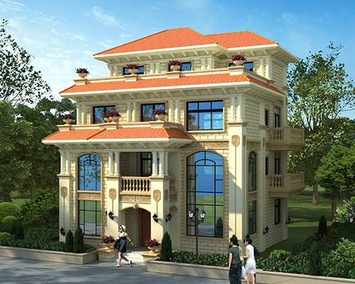经典大气占地130平四层简欧风格别墅设计图纸11.6mX11.8m #AT1765