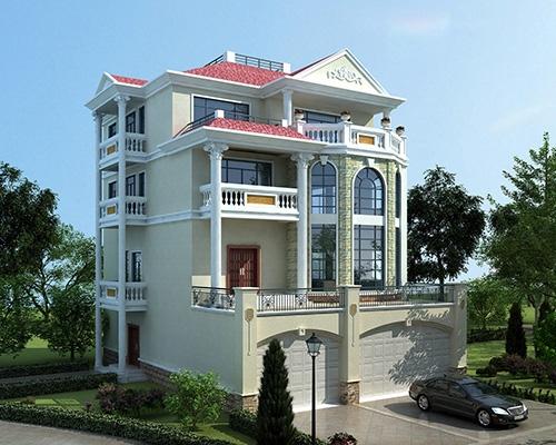 永云别墅AT1687四层带商铺车库复式楼中楼别墅设计图纸11.6mx17.1m