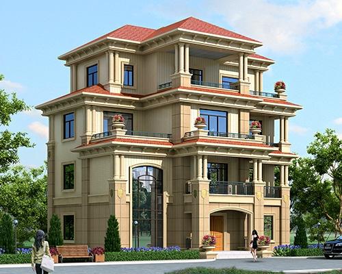 永云别墅AT1670四层欧式豪华楼中楼复式别墅建筑施工图纸14mx10.5m