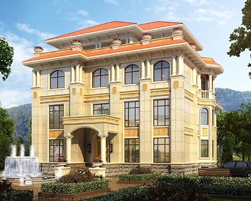 带电梯AT1825高档四层复式带漂亮庭院花园南昌别墅设计图纸16mX17m