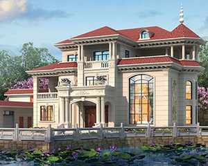 AT1901欧式风格三层高端豪华复式楼别墅设计施工图纸21mX18.7m