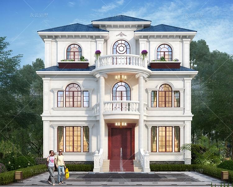 简欧风格浪漫唯美挑高客厅三层花园别墅全套设计图纸11.4mX10.5m