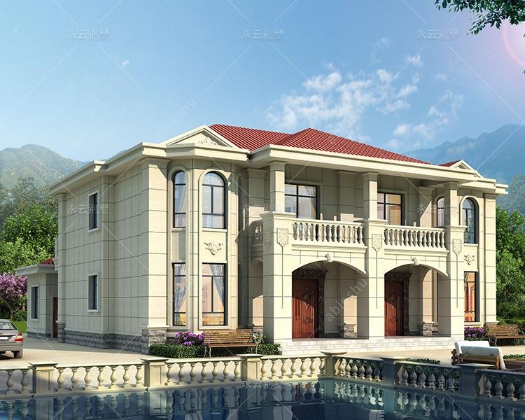 新农村自建简约大方二层带附房双拼别墅全套施工图纸18.6mX20.6m