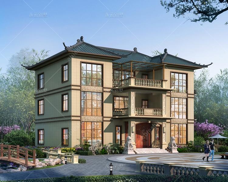 娄底新化肖先生三层新中式带堂屋乡村自建别墅设计案例