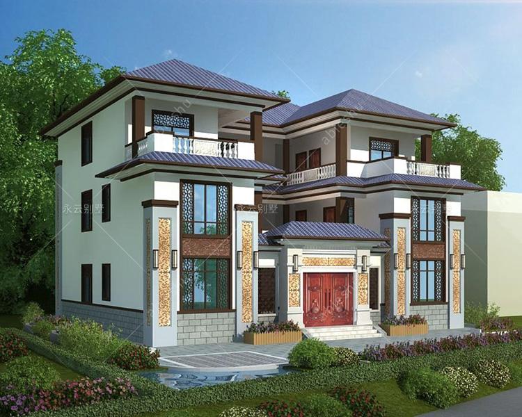实测宅基地/新中式四合院别墅/带内庭院/带院墙大门设计