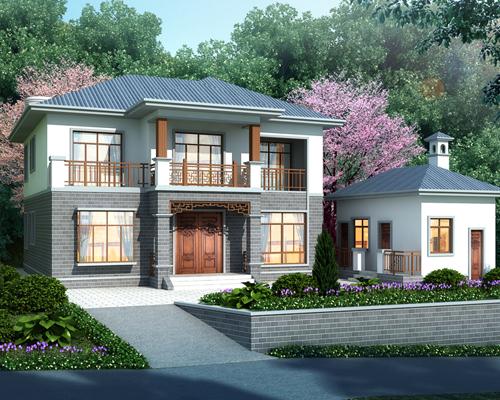因地制宜设计带附房及围墙地形规划乡村自建中式小别墅
