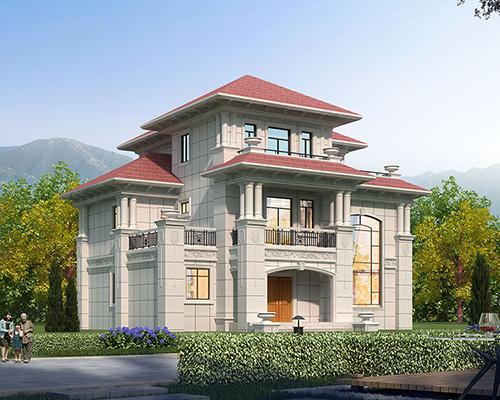 江西刘总干挂山东白麻石材外墙复式楼豪宅别墅设计案例