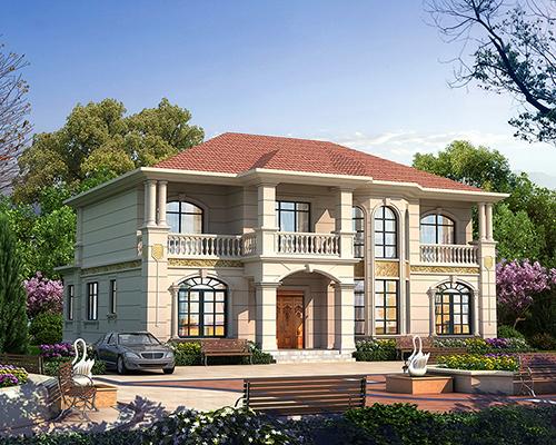 二层四开间欧式八角窗造型美观布局实用180平农村私人别墅效果欣赏